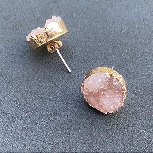 New! Anthro Druzy Rose Quartz Stud Earrings.
